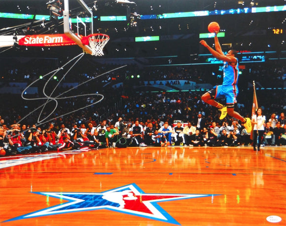 Serge Ibaka Autographed 16x20 OKC Thunder Dunk Contest Photo- JSA Authenticated