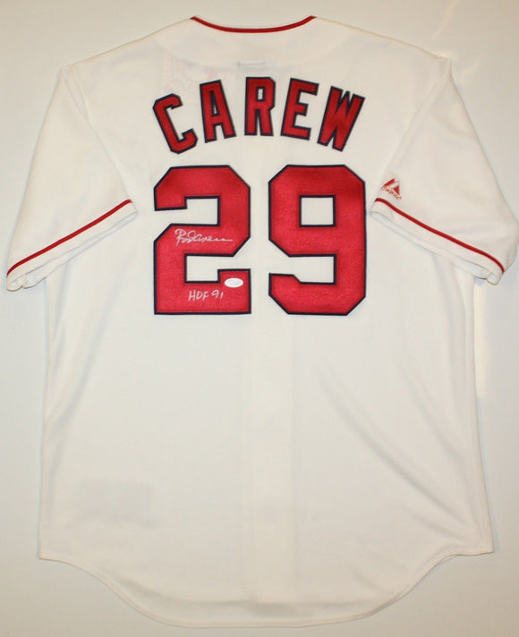 Rod Carew Autographed Los Angeles Angels White Jersey W/ HOF- JSA W Auth