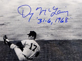 Denny McLain 31-6, 1968 Signed Detroit Tigers 8x10 B&W Pitching Photo- JSA W Aut