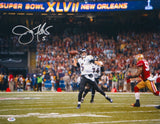 Joe Flacco Autographed 16x20 Super Bowl Passing Photo- PSA/DNA Authenticated
