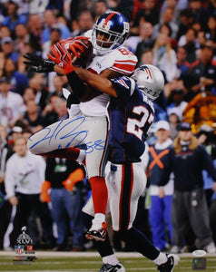 Hakeem Nicks Autographed 16x20 Against Patriots SB Photo- JSA Authenticated