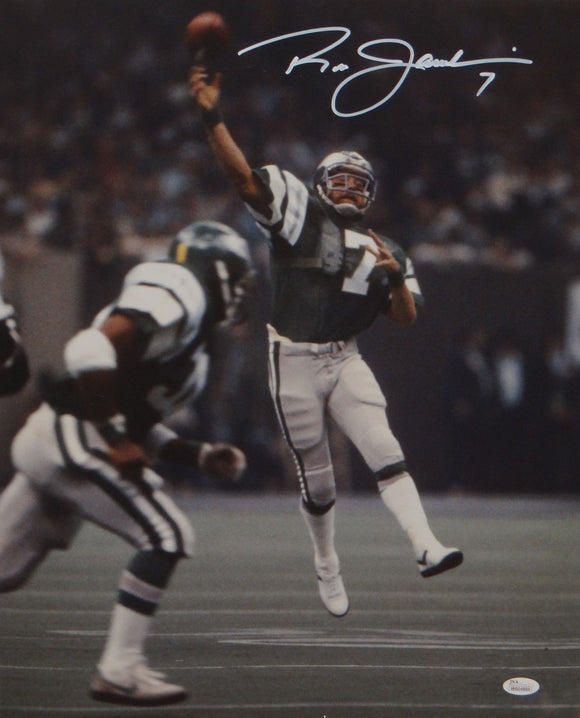 Ron Jaworski Autographed 16x20 Vertical Passing Photo- JSA W Authenticated