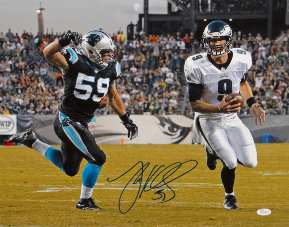 Luke Kuechly Autographed Panthers 16x20 Going After Foles Photo- JSA W Auth