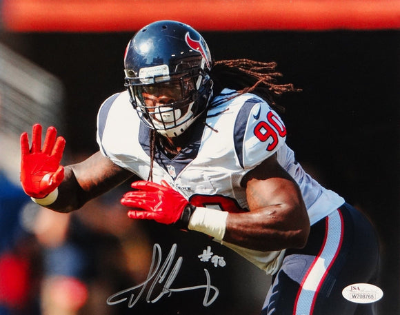 Jadeveon Clowney Autographed 8x10 Texans Red Gloves Photo- JSA Authenticated