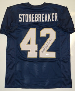 Michael Stonebreaker Autographed Navy Blue Jersey- JSA W Authenticated
