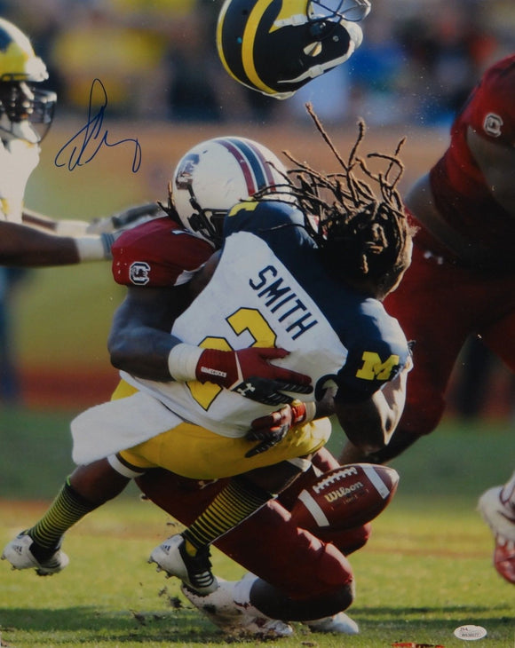 Jadeveon Clowney Autographed 16x20 Michigan Hit Vertical Photo- JSA W Auth