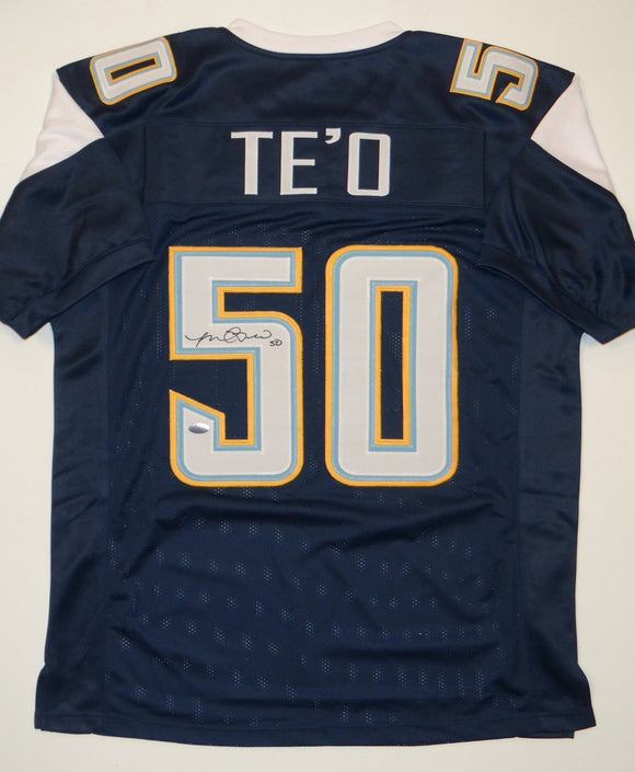 Manti Te'o Signed / Autographed Navy Blue w/ Yellow Jersey- Manti Hologram