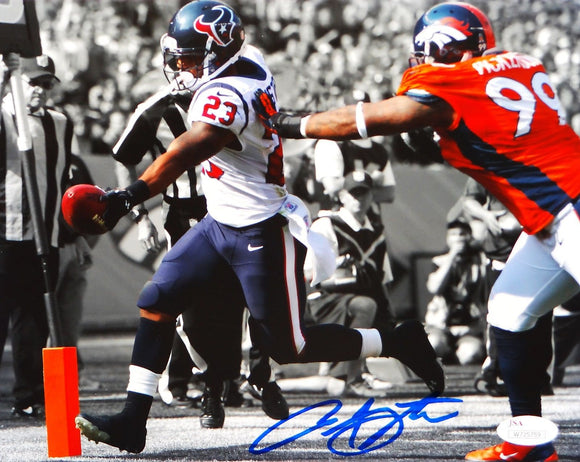 Arian Foster Autographed Texans 8x10 B/W & Color TD Photo- JSA W Authenticated