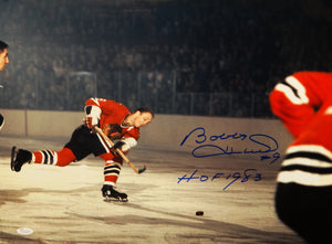 Bobby Hull Autographed 16x20 BlackHawks Shooting Photo w/ HOF and JSA Witnessed
