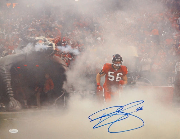 Brian Cushing Autographed 16x20 Running In Smoke Photo- JSA W Auth