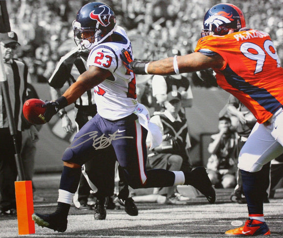 Arian Foster Autographed 20x24 B/W & Color TD Canvas- JSA W Authenticated