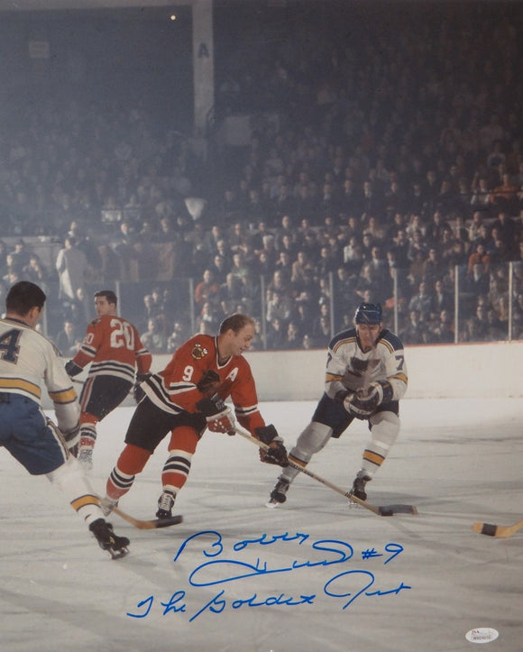 Bobby Hull Autographed 16x20 Vertical Against St Louis Photo- JSA Authenticated