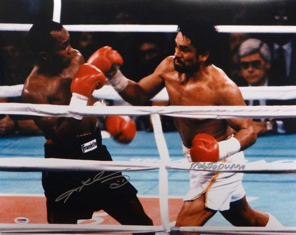 Roberto Duran & Sugar Ray Leonard Autographed 16x20 Duran Swing Photo- PSA/DNA