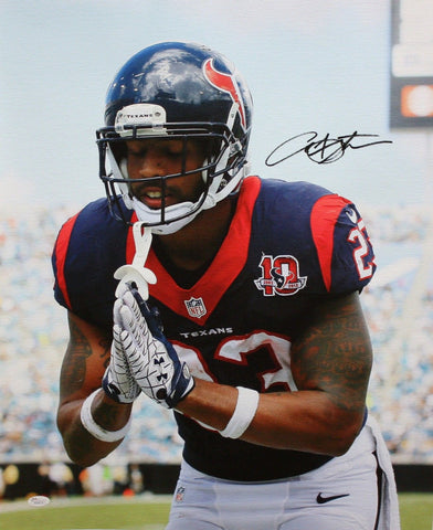 Arian Foster Autographed 20x24 Close Up Bow Canvas- JSA W Authenticated