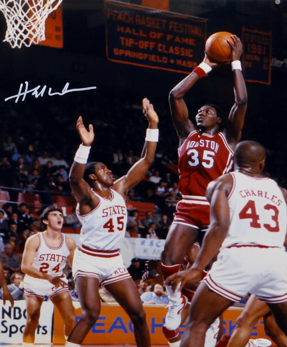 Hakeem Olajuwon Houston Autographed 16x20 Against NC State Photo- JSA W Auth