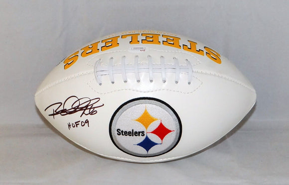Rod Woodson Autographed Pittsburgh Steelers Logo Football W/ HOF *Left- JSA W Auth