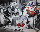 Mario Manningham Autographed Giants 16x20 B&W Color Catch Photo PF - JSA W Auth