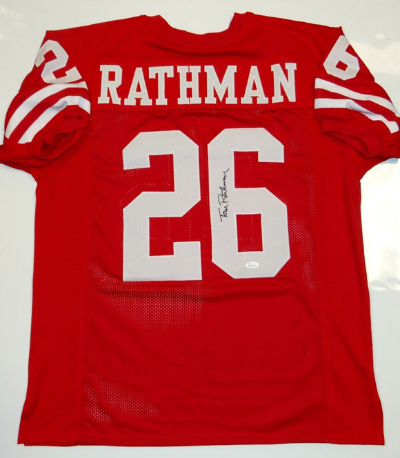 Tom Rathman Autographed Red Jersey- JSA W Authenticated