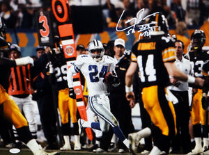 Larry Brown Signed Dallas Cowboys 16x20 Against Steelers Front View Photo W/ MVP- JSA W Auth