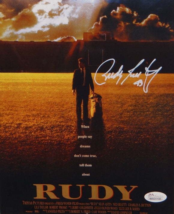 Rudy Ruettiger Autographed 8x10 Movie Poster *White Photo- JSA Authenticated