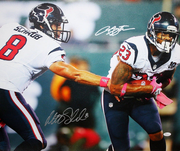 Arian Foster Matt Schaub Autographed 20x24 Hand Off Canvas- JSA W Authenticated