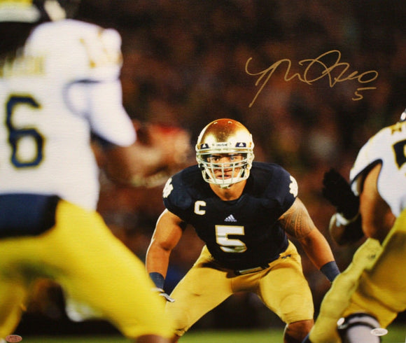 Manti Te'o Autographed 20x24 Horizontal Front View Canvas- JSA Authenticated