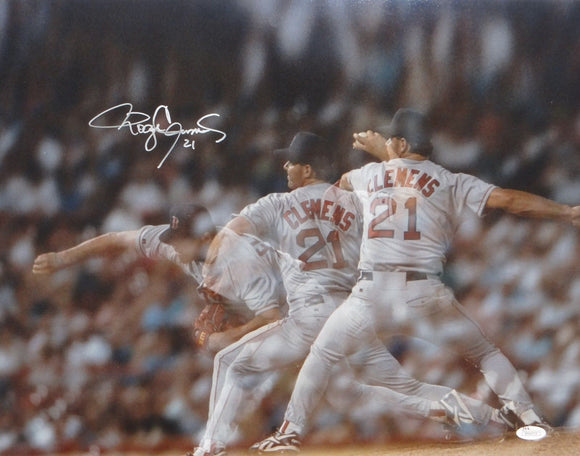 Roger Clemens Autographed 16x20 Pitching Multi Shot Photo- JSA W Authenticated