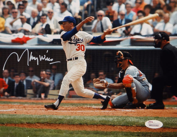Maury Wills Autographed LA Dodgers 8x10 Swinging Photo- JSA W Auth