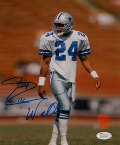 Everson Walls Autographed 8x10 Vertical On Field Photo- JSA W Authenticated