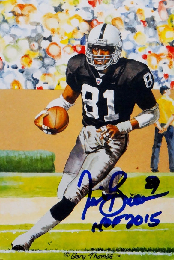 Tim Brown Autographed Oakland Raiders Goal Line Art Card W/ HOF- JSA Witnessed Auth