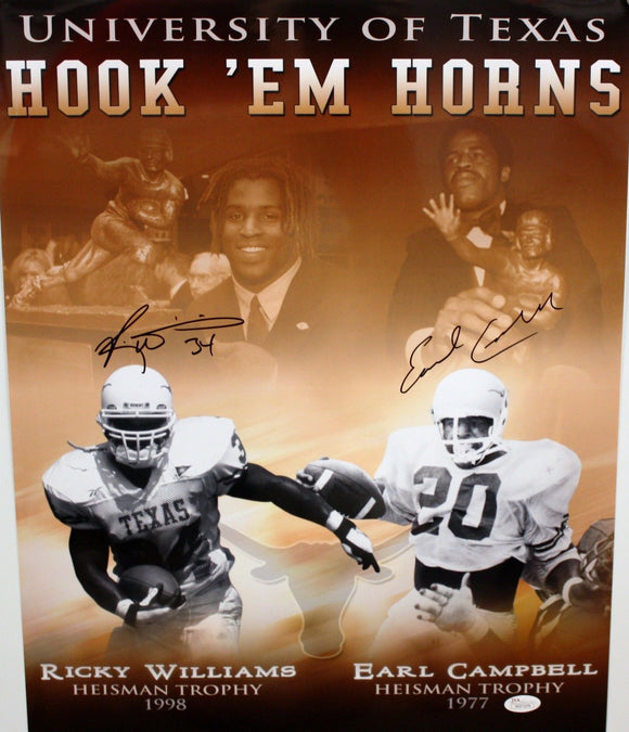 Williams & Campbell Autographed 16x20 Color w/ B&W Heisman Photo- JSA Auth