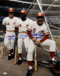 Bench, Morgan & Rose HOF Autographed 16x20 Big Red Machine Photo- JSA W Auth