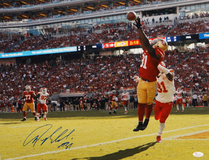 Anquan Boldin Autographed San Francisco 49ers 16x20 Leaping Catch Photo- JSA W Auth