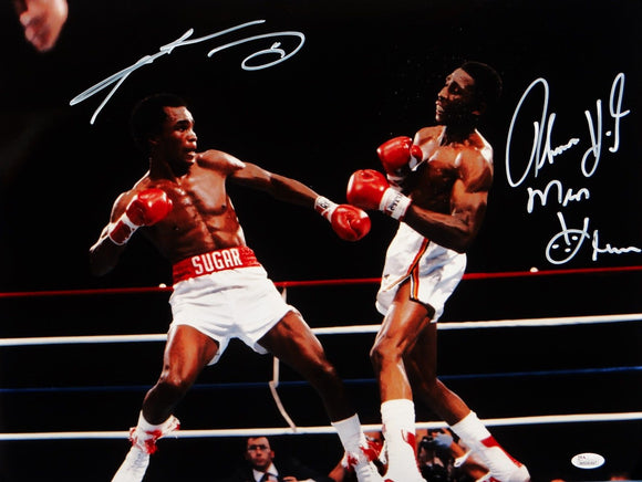 Sugar Ray Leonard/ Tommy Hearns Signed 16x20 Punching *White Photo- JSA W Auth
