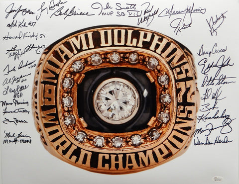 1972 17-0 Perfect Season Autographed 16x20 Super Bowl Ring Photo- JSA W Auth