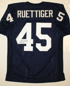 Rudy Ruettiger Never Quit Signed / Autographed Navy Blue Jersey- JSA Auth