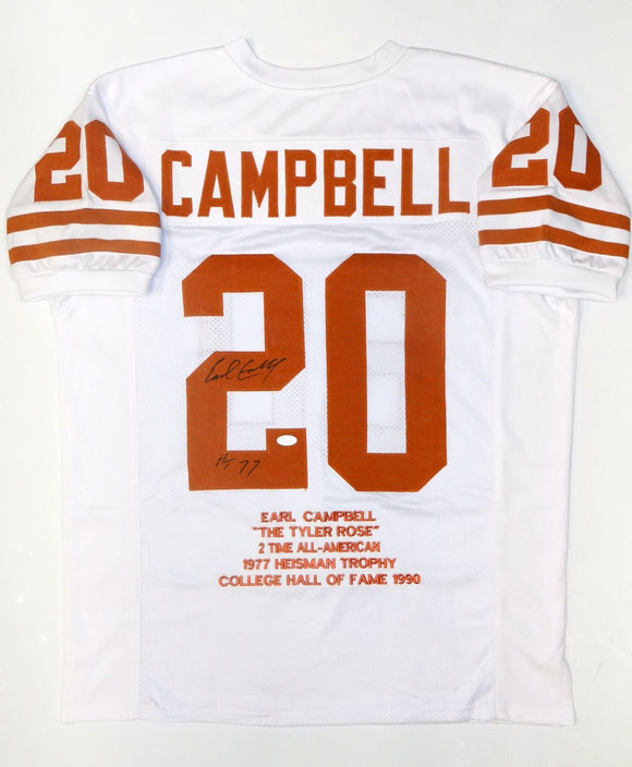 Earl Campbell Autographed White College Stat-1 Jersey W/ HT- JSA Witnessed Auth