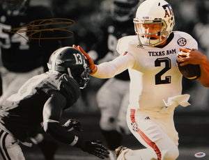 Johnny Manziel Autographed 16x20 B/W & Color Stiff Arm *Gold Photo- PSA/DNA Auth