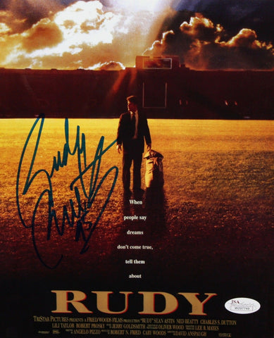 Rudy Ruettiger Autographed 8x10 Movie Poster *Blue Photo- JSA Authenticated