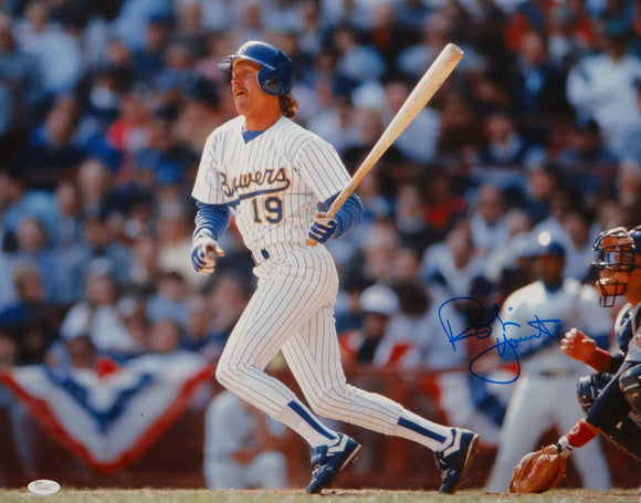 Robin Yount Autographed Milwaukee Brewers 16x20 Watching Hit Photo- JSA W Authenticated