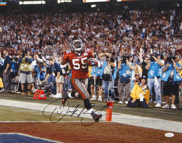 Derrick Brooks Autographed Tampa Bay 16x20 Horizontal Running Photo- JSA W Auth