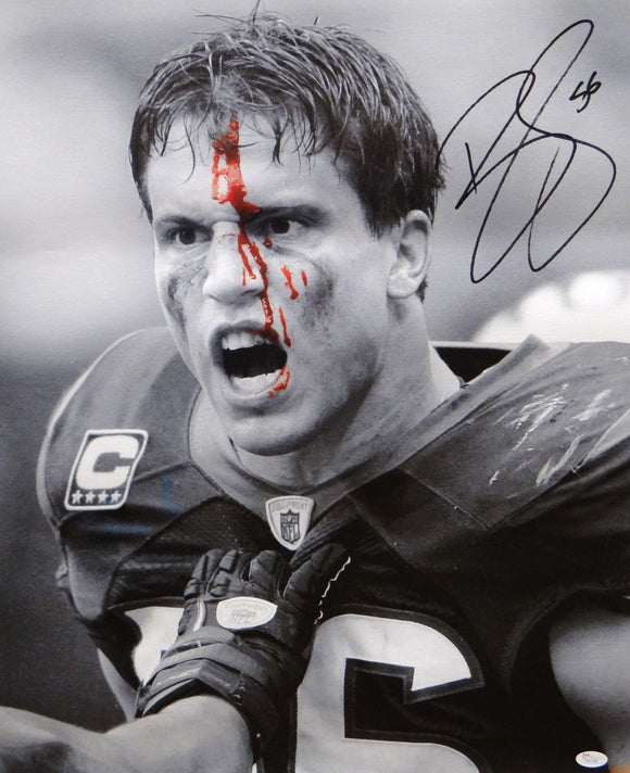Brian Cushing Autographed 20x24 B&W Bloody Face Canvas- JSA W Authenticated