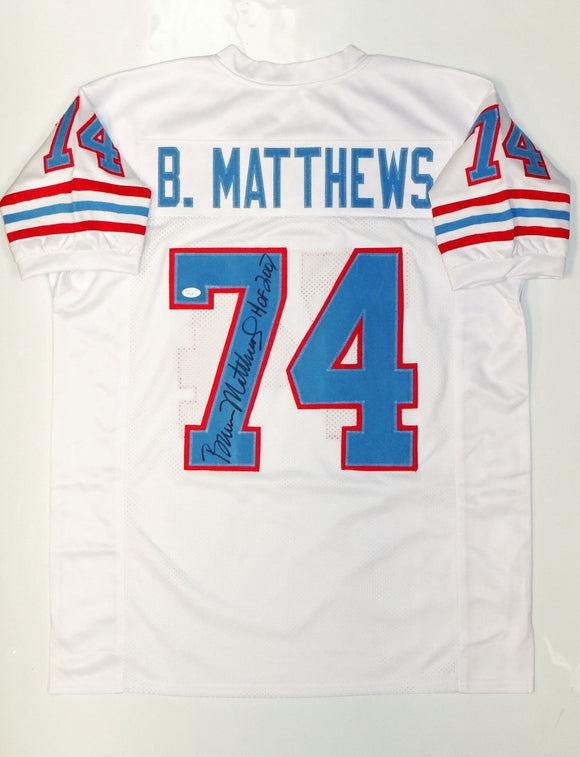 Bruce Matthews Autographed White Pro Style Jersey W/ HOF- JSA Witnessed Auth