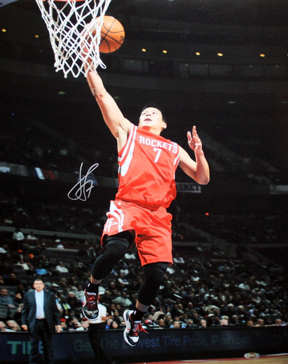 Jeremy Lin Autographed 16x20 Rockets Lay Up Photo- Steiner Authenticated