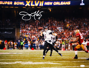 Joe Flacco Autographed *White 16x20 Super Bowl Passing Photo- JSA Authenticated