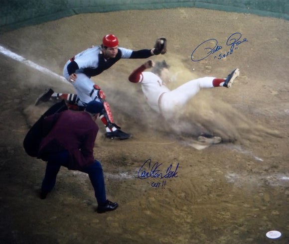 Pete Rose & Carlton Fisk Autographed 16x20 Safe vs Out *Blue- JSA W Auth
