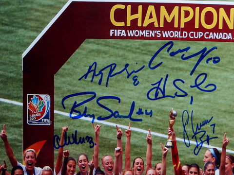 US Women's Soccer Team Autographed 16x20 World Cup Trophy Photo- JSA W Auth