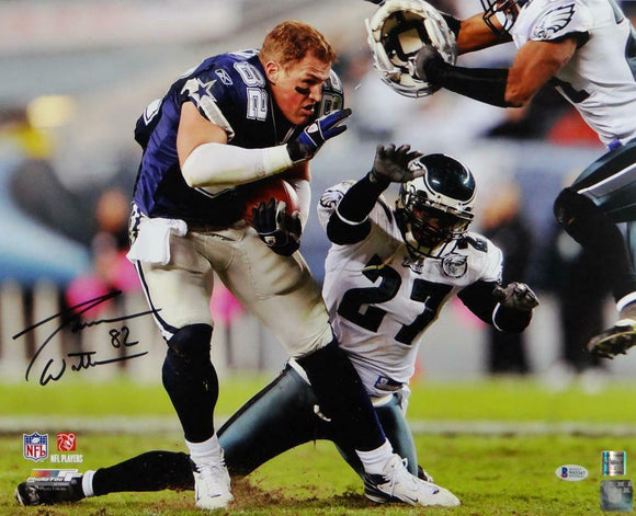 Jason Witten Autographed Dallas Cowboys 16x20 Helmet Off PF Photo-Beckett Auth *Black