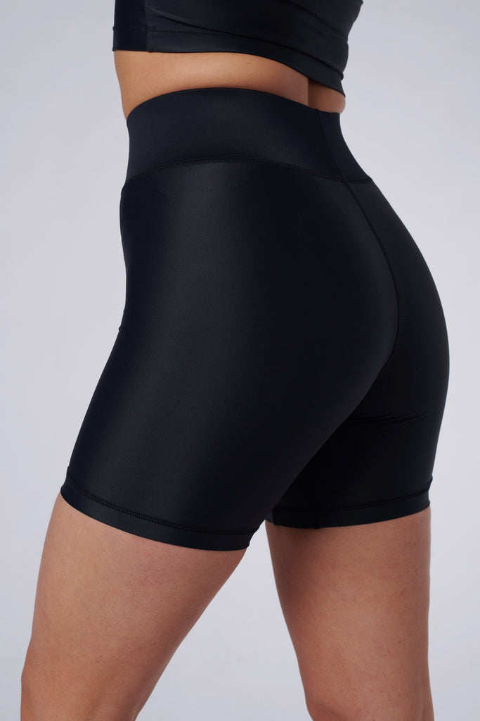 Close up of Cora Bicycle Shorts in Black