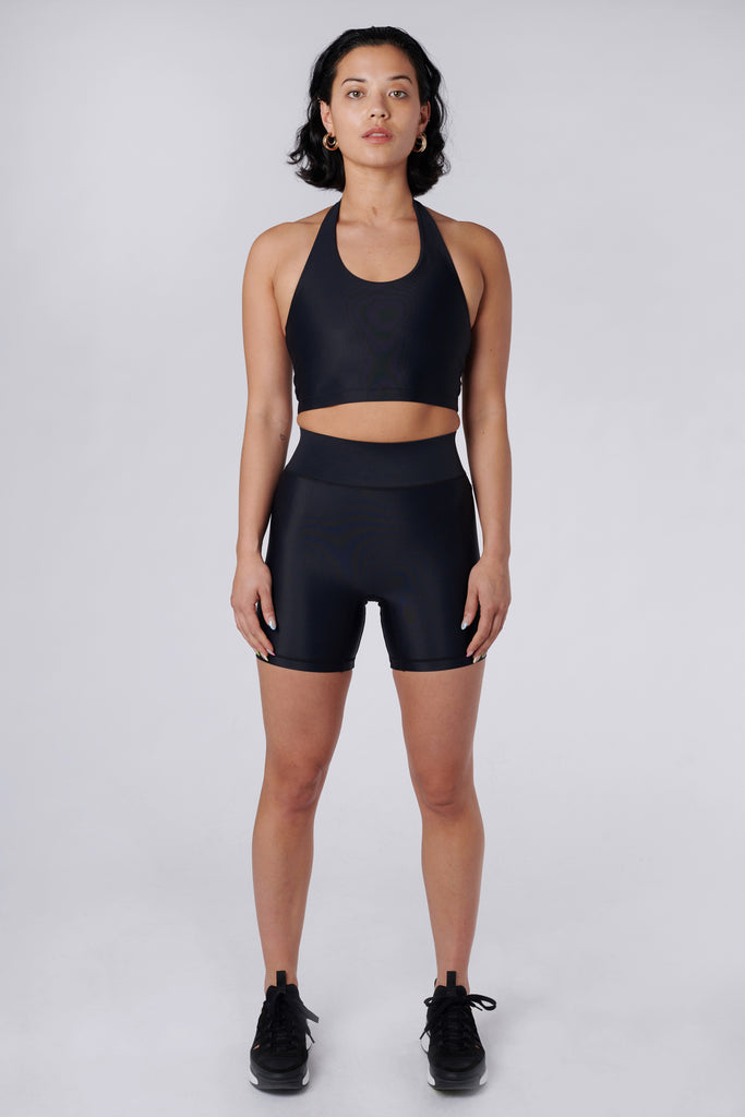 Front view of model wearing Cora Bicycle Shorts in Black
